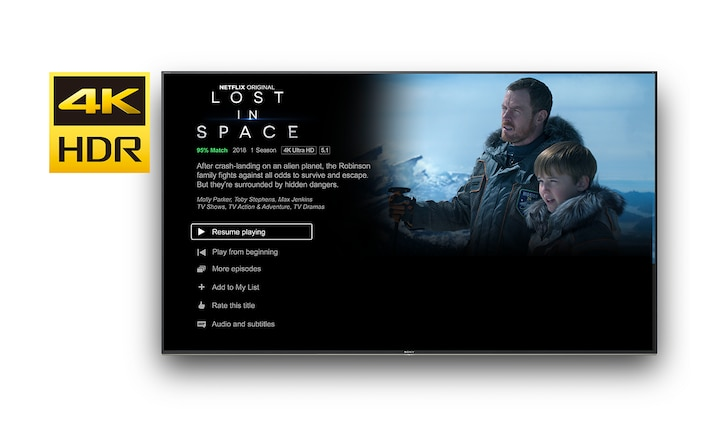 Zaslon televizora na kojem se prikazuje 4K HDR Netflix program