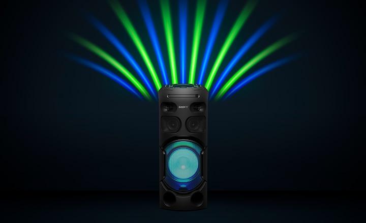 Zelena i plava svjetla zabave i zvučnika